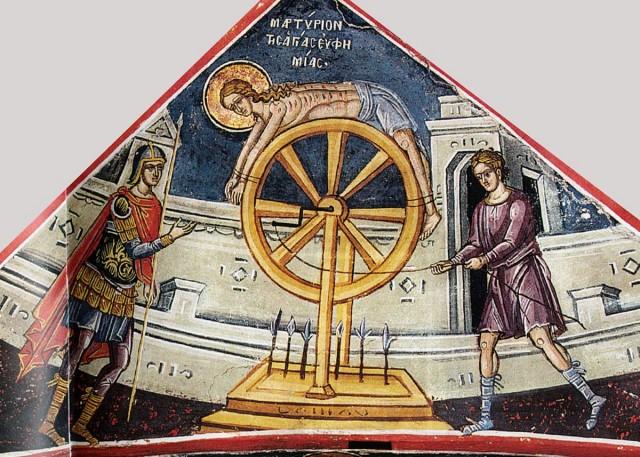 Мучение св Евфимии Тзортзи (Зорзис) Фука Фреска  Афон (Дионисиат) 1547