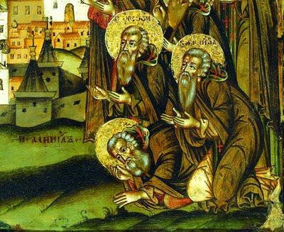 Преподобные Даниил Шужгорский (в земном поклоне), Иродион Илоезерский и Филипп Ирапский.