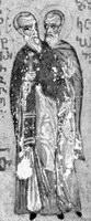 Прпп. Патермуфий и Коприй Миниатюра Афон (Иверский м-рь) Конец XV в