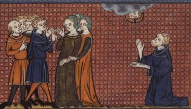 Пелагия в окружении любовников и святой Нонн, молящийся о её обращении