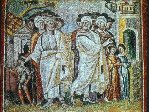 разделение Лота и Авраама, мозаика  в церкви Санта-Мария-Мад-жор в Риме, 5 век
