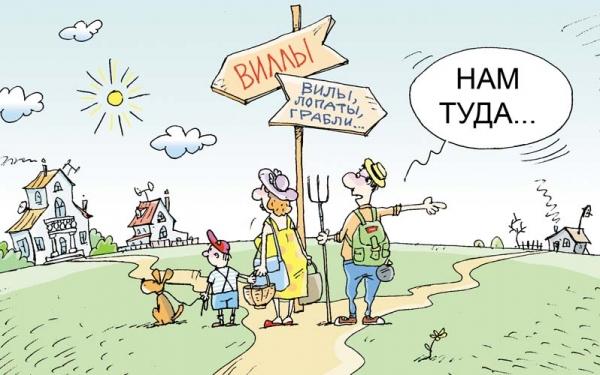 едем в деревню карикатура
