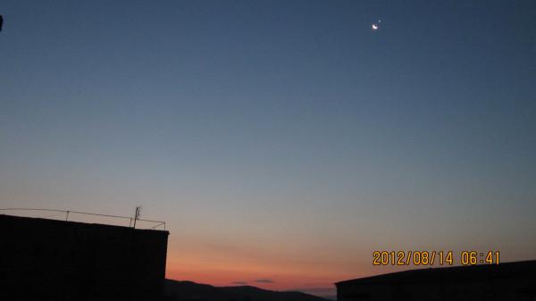 Луна и Венера утром 14.08.2012.