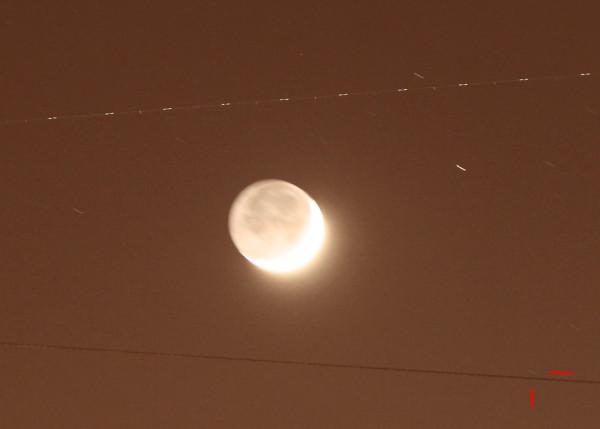 Луна и самолёт 30.01.2017.
