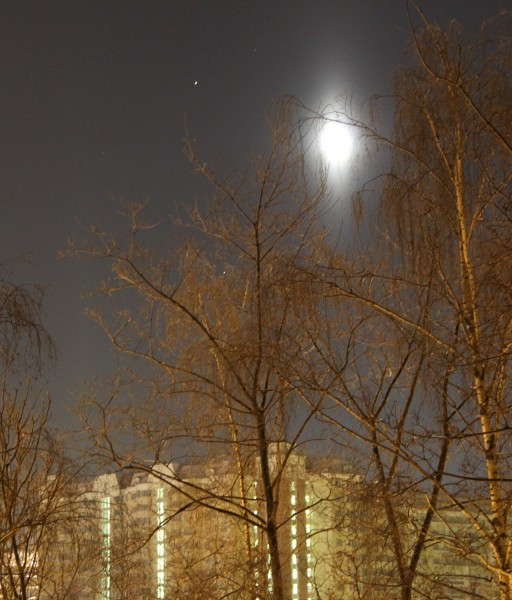Лунный столб, Марс и Спика 23.01.2014.