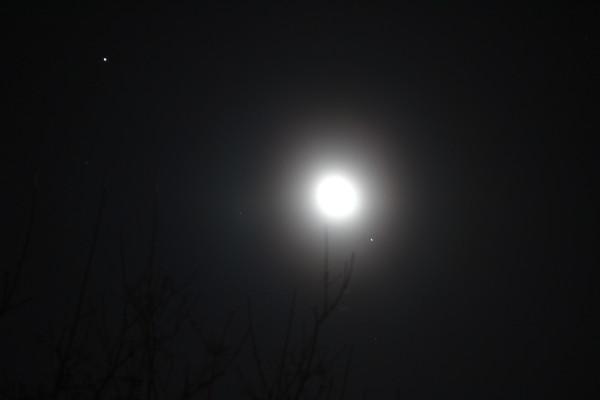 Луна, Марс и Спика 19.03.2014.