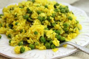 Рис с куркумой и горошком