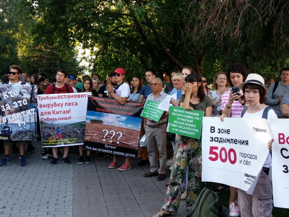 Сибирь горит. Митинг в Новосибирске
