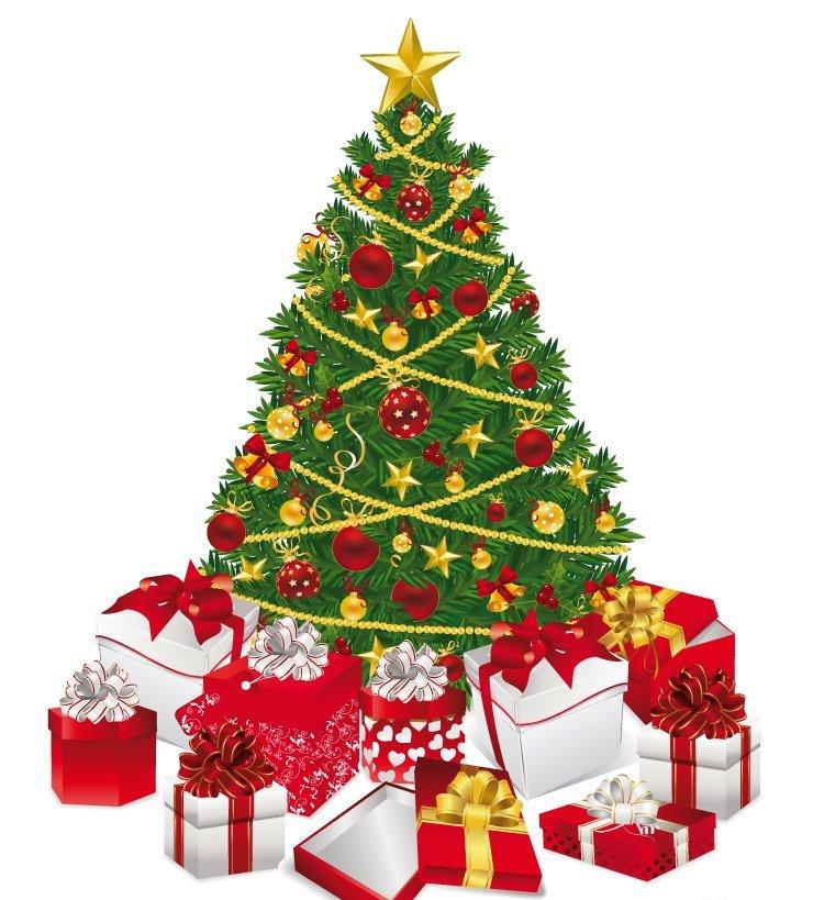 Открытка елка с подарками, юбилеем