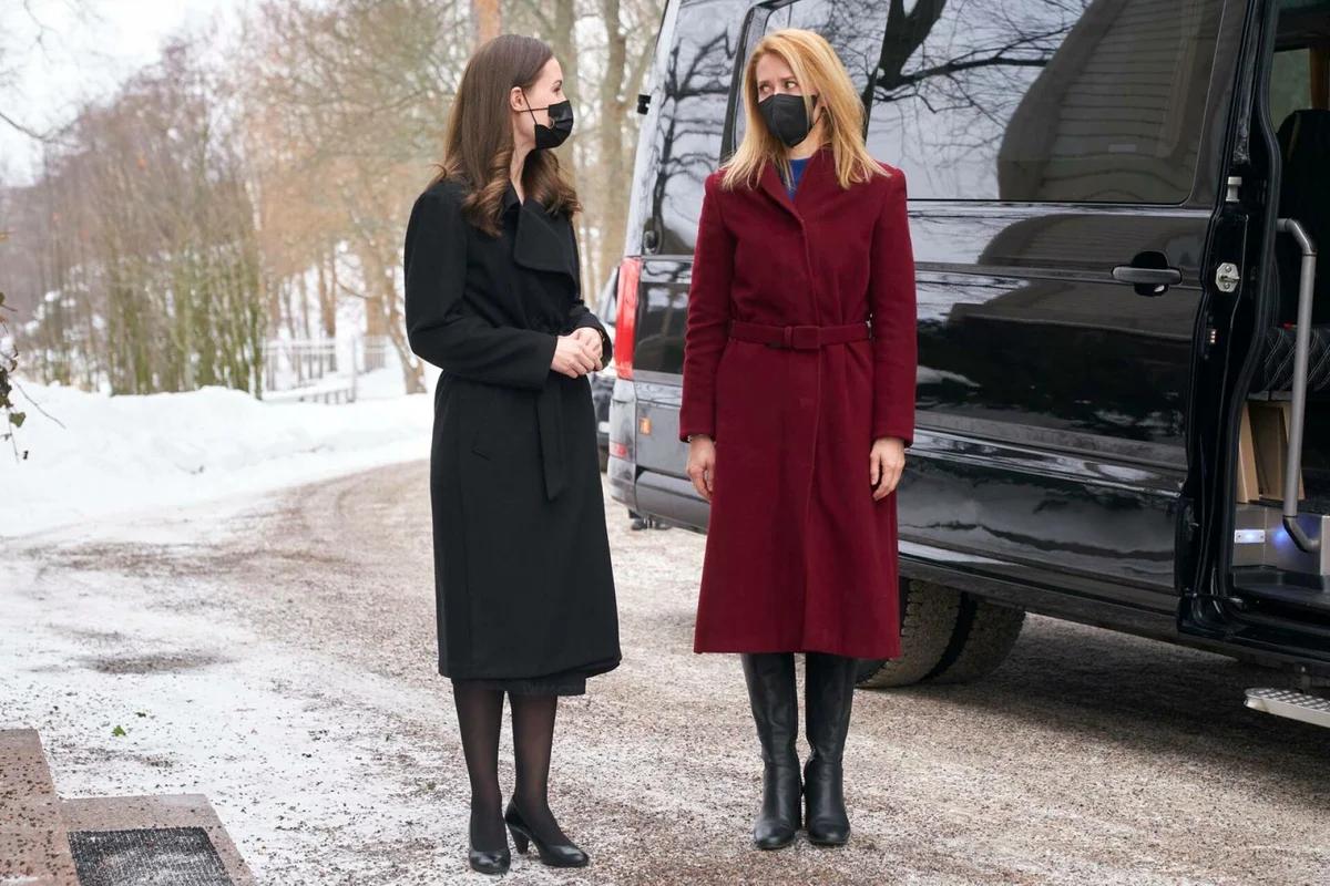 Санна Марин и Кая Каллас на встрече в Финляндии в феврале. Фото: Kimmo Räisänen