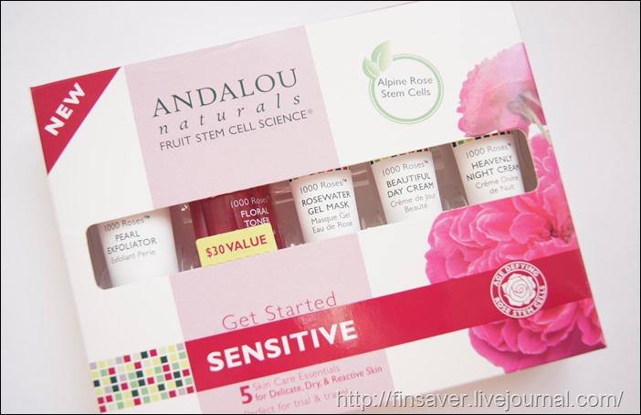 Andalou Naturals, Get Started Kit, 1000 Roses, Sensitive, 5 Piece Kit шруки iherb.com отзыв купон на скидку 10$ набор пробников для комбинированной чувствительной жирной кожи органика