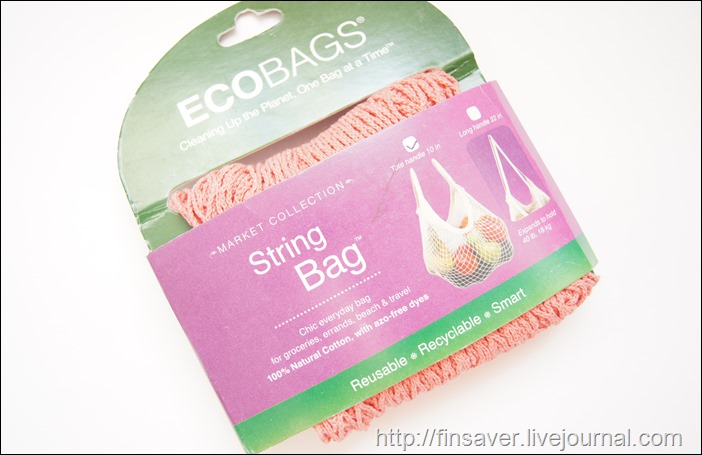 Eco-Bags Products, Market Collection, String Bag, Tote Handle 10 in, Coral Rose, 1 Bag сумка сетка алкоголичка фото шруки iherb.com отзыв купон на скидку 10$