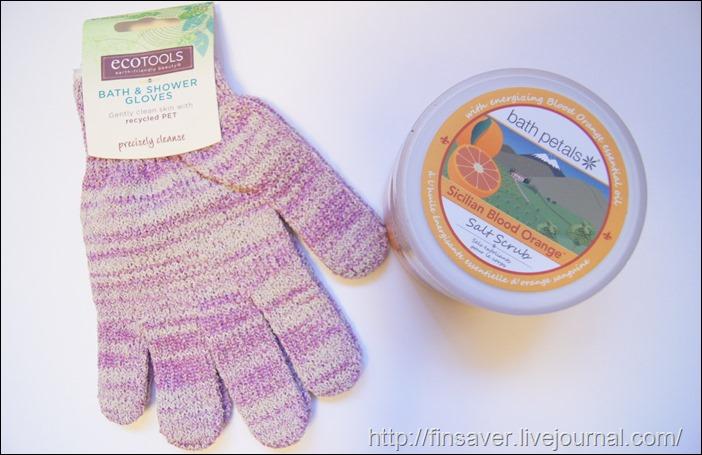 EcoTools, Recycled Bath & Shower Gloves, 1 Pair Bath Petals, Salt Scrub, Sicilian Blood Orange, 20 oz (567 g)