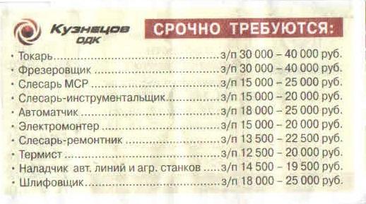 вакансии Кузнецов