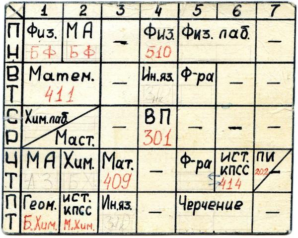 Расписание на первый семестр 1980/81 учебного года