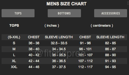 Size Charts A F Hollister Fitchspree