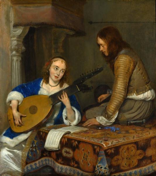 Герард Терборх - Женщина играющая на теорбе-лютне, и кавалер .jpeg