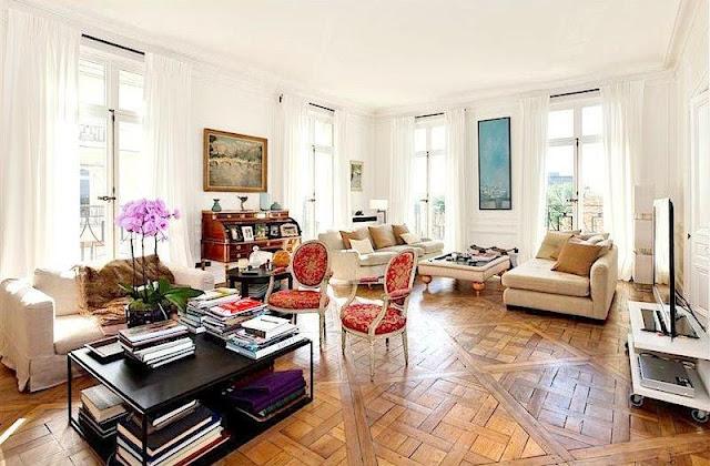 sothebys paris apartment neuilly sur seine living room parquet floors wrap around windows cococozy