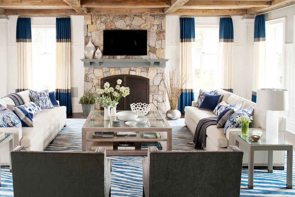 muse interiors cococozy color block drapes drapery curtains blue gray off white living room stone fireplace dueling facing sofas exposed beam ceilings large