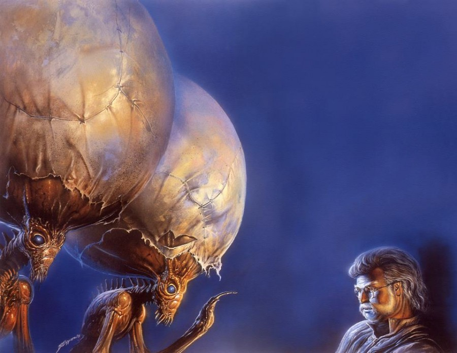Aliens with big heads - Bob Eggleton