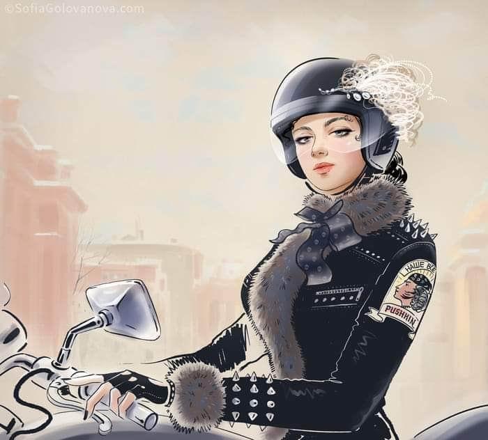 незнакомка на мотоцикле