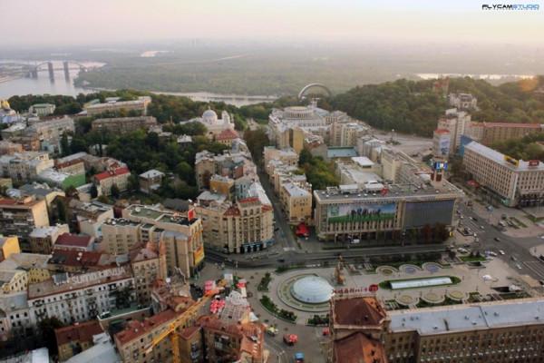 Киев,  Майдан Независимости - вид с высоты