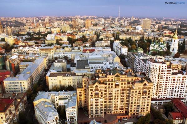 Киев, Малоподвальная улица, съемка мультикоптером