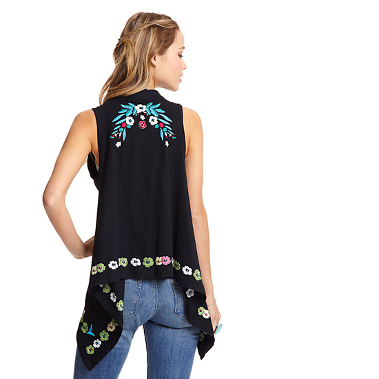 BELLA CARRA Sleeveless Embroidered Vest