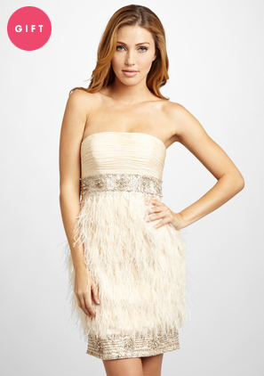 Отчет: платья Sue Wong, зимнее и plus size. 'ideeli I SUE WONG Strapless Feather Dress