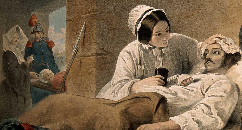 Флоренс Найнтингейл у постели умирающего солдата. Раскрашенная литография. WellcomeCollection