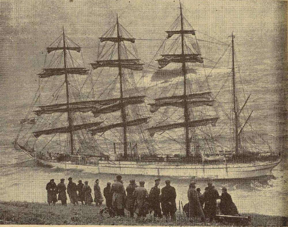 """Май 1936 года. """"Герцогиня Цецилия"""", финский четырех мачтовый парусник, самый большой парусный корабль того времени. Катасрофа у берегов Англии."""