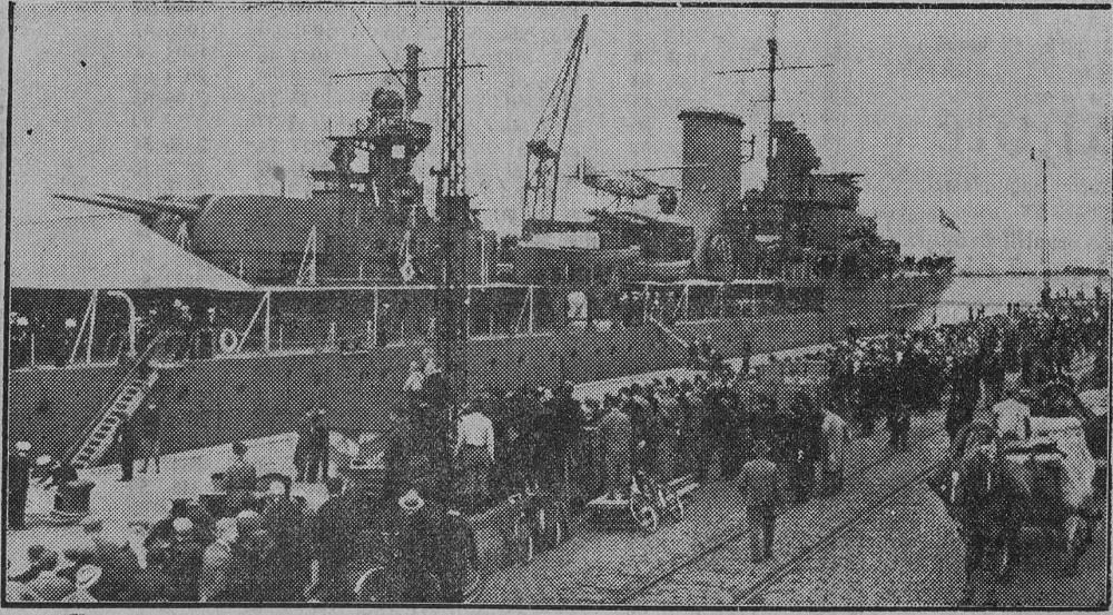 Английский крейсер Neptun в Даугавгриве. 05.07.1934г.