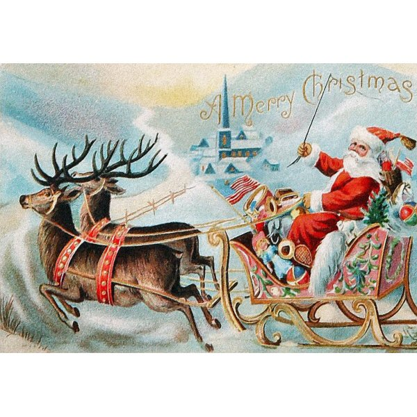 Vintage_Merry_Christmas_Santa_On_His_Sleigh