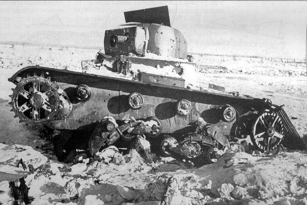 Подбитый телетанк на финском фронте.