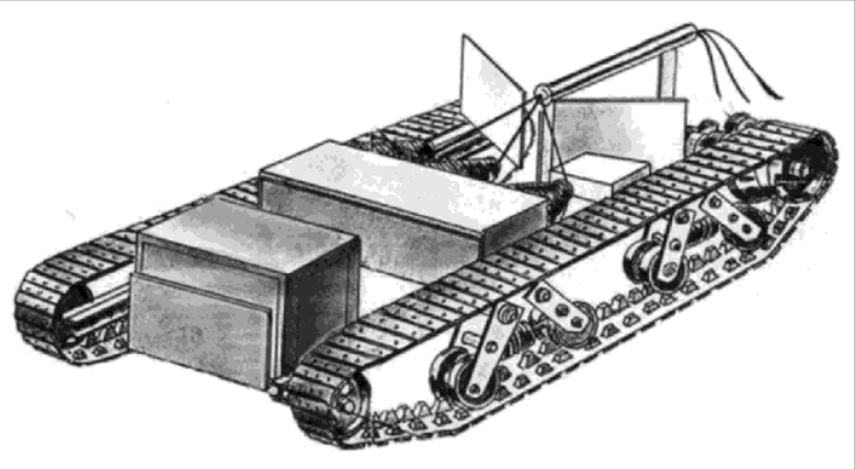 Эскиз электротанкетки Казанцева. Следует отметить, что он выглядит иначе - и более рационально - чем макет-реконструкция.