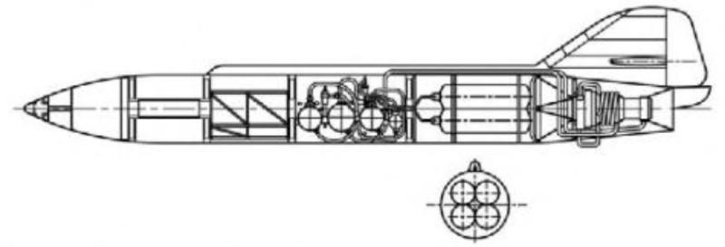 Чертеж внутреннего устройства ракеты 212.