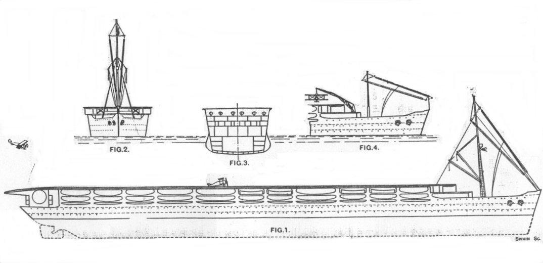 Схема авианесущего лайнера (на FIG.4 изображен вариант со складной мачтой)