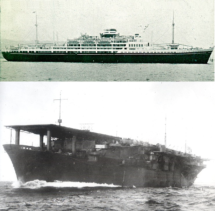 """Японский лайнер """"Аргентина Мару"""" (1939) был субсидирован японским правительством с тем условием, что конструкция его будет допускать быструю перестройку в авианосец. В 1942, он был перестроен в эскортный авианосец """"Кайо""""."""