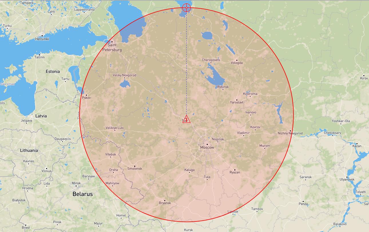 Детонация над Тверью, область поражения протягивается от Санкт-Петербурга на севере, до Липецка на юге, Нижнего Новгорода на востоке и Пскова на западе.