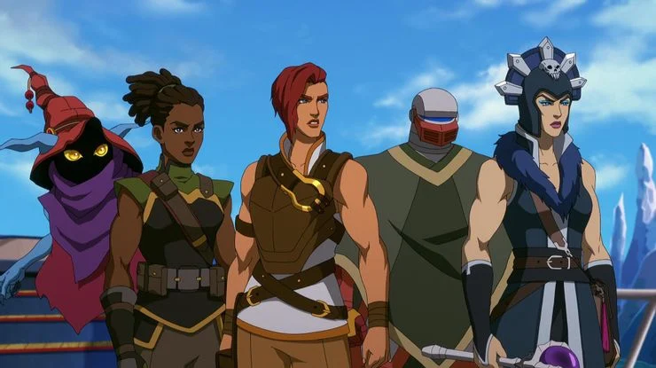 Пять героев: три девушки, один тролланин и один робот.