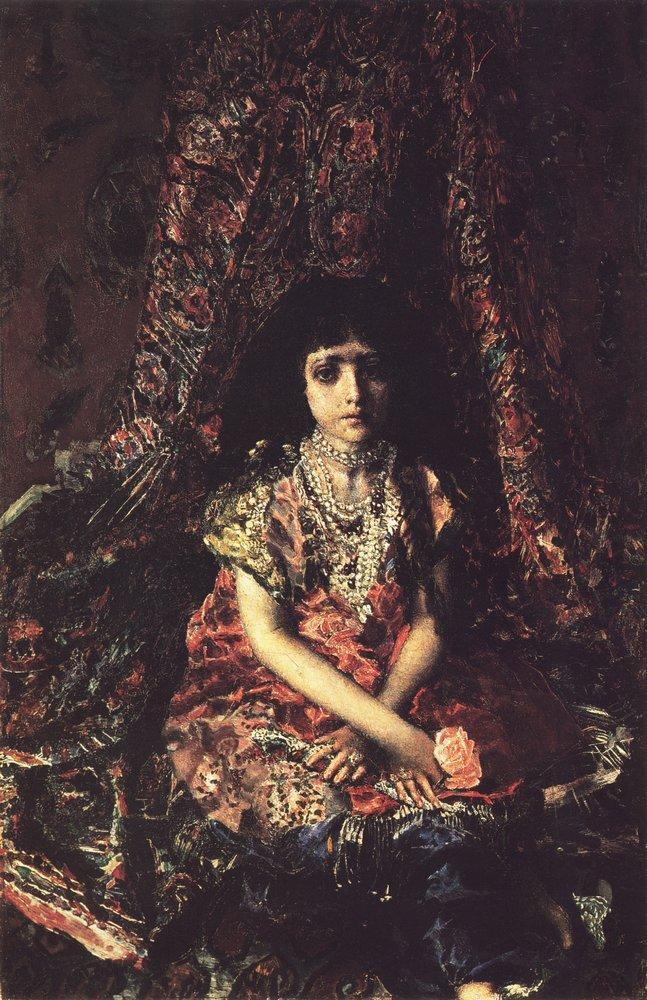 Врубель. девочка на фоне персидского ковра. 1886 год