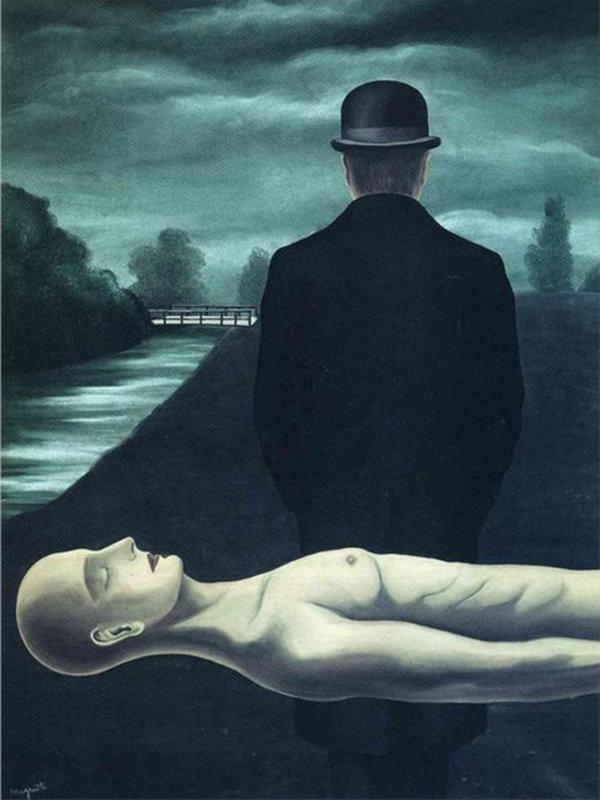 Рене Магритт. Размышления одинокого прохожего.  1926 год.