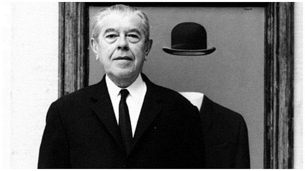 Рене Магритт. Фотография на фоне своей картины.