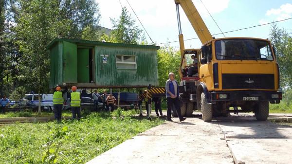 Установка строительного вагончика 6 июля