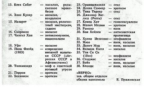 Запрещенные группы в СССР