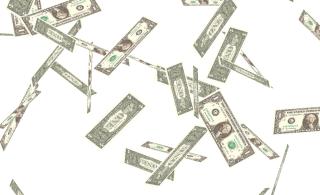 falling one dollar bills