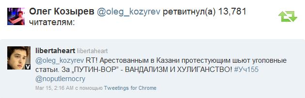 Письмо «Олег Козырев   oleg_kozyrev  ретвитнул а  один из ваших твитов » — Twitter — Яндекс.Почта