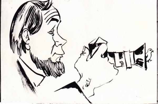 Дружеский шарж - таким Равиля Гареева видели каррикатуристы