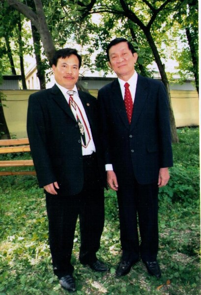 Anh voi Chu tich Truong Tan Sang