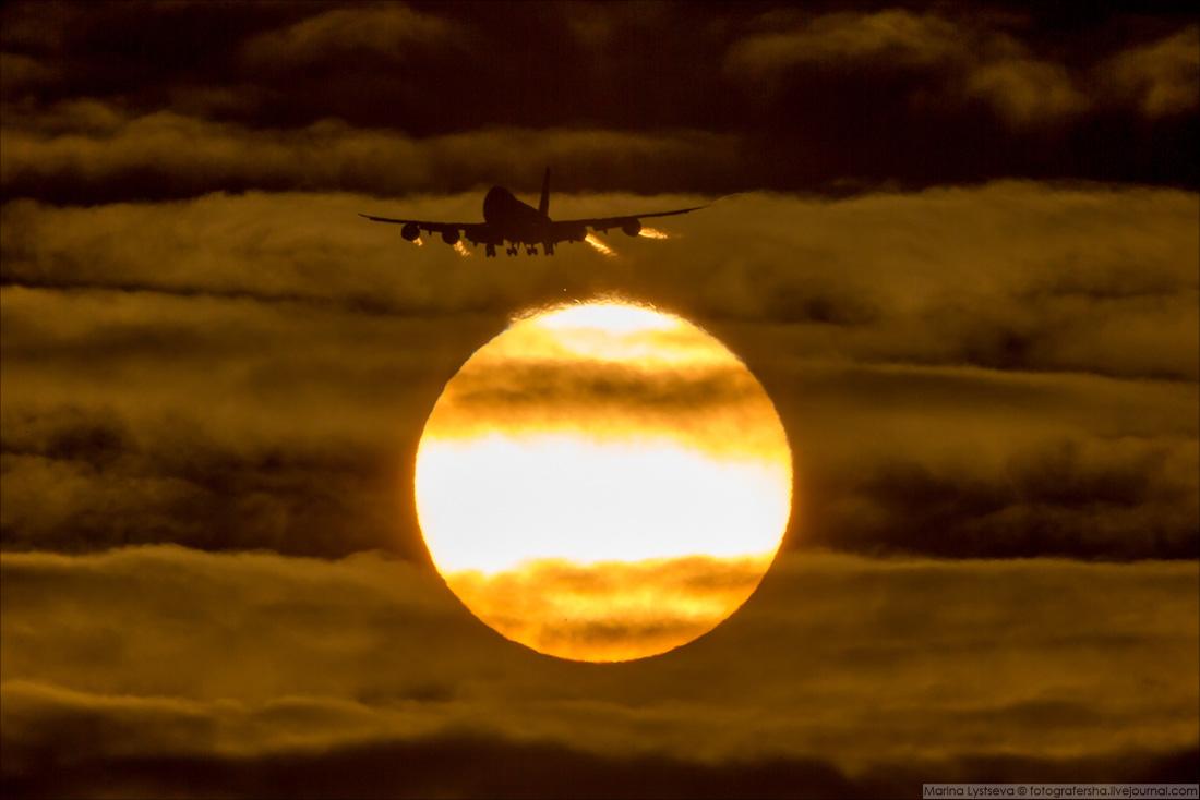 180110 B747 AirBridgeCargo заходит на посадку в Домодедово